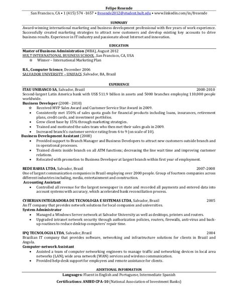one page resume for