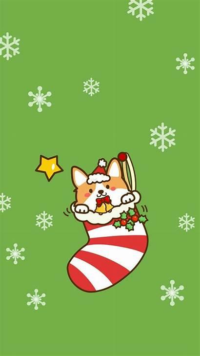 Christmas Dog Corgi Cartoon Wallpapers Animals Aesthetic