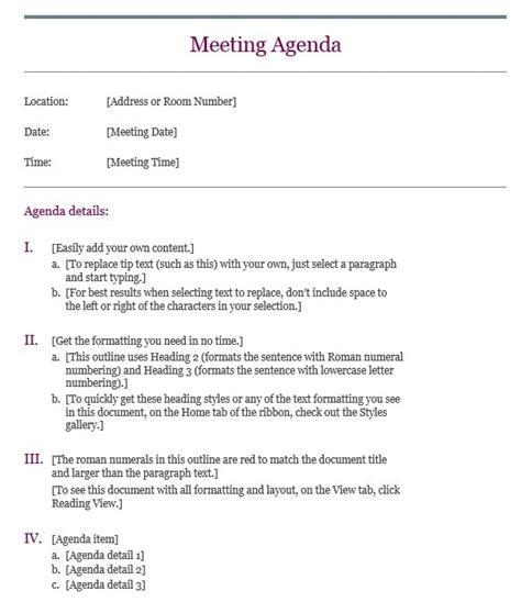 sample basic meeting agenda templates printable