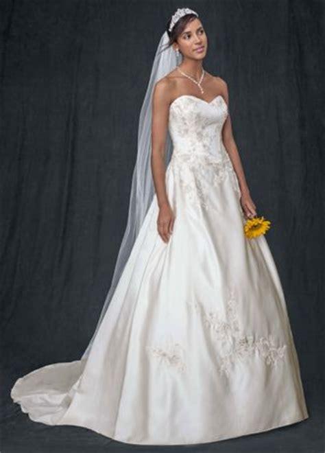 strapless corset wedding dress  lace appliques david