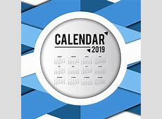 2019 calendar template with blue abstract background