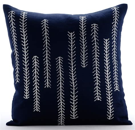 Navy Decorative Pillows by Navy Blue Decorative Pillow Cover Square Sequins Beaded