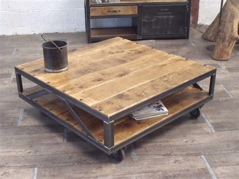 table basse industrielle carr 233 e bois m 233 tal sur mesure meubles et rangements par micheli design
