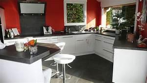 cuisine sur mesure en blanc brillant dans l39ain par abema With plan de travail cuisine blanc laque