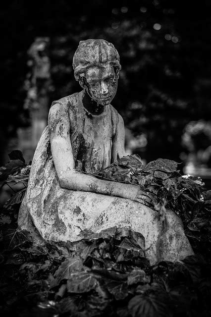 black white cemetery girl  photo  pixabay