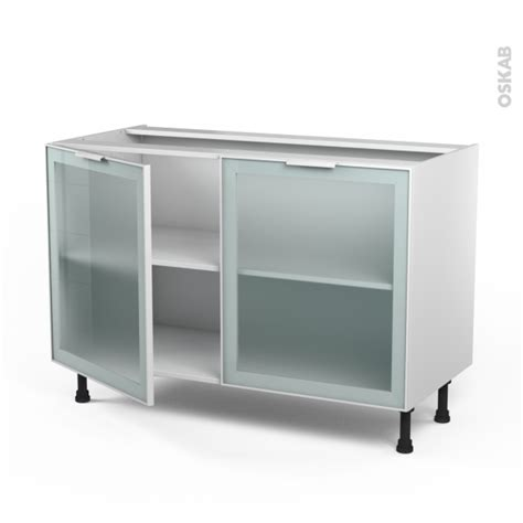 meuble cuisine cagne meuble de cuisine bas vitré façade blanche alu 2 portes