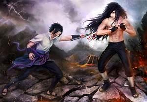 Art naruto sasuke uchiha madara uchiha battle wallpaper ...