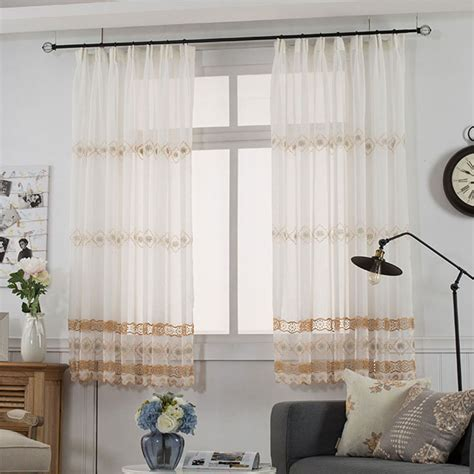 Embroidered tulle Curtains for the Kitchen Pastoral Flower
