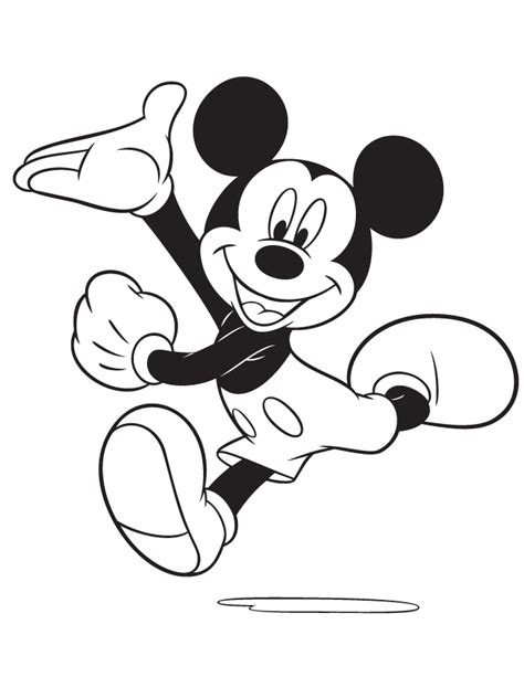 excited mickey mouse running coloring page