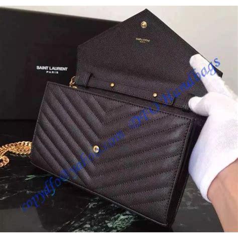 monogram saint laurent chain wallet  black grain de poudre textured matelasse leather