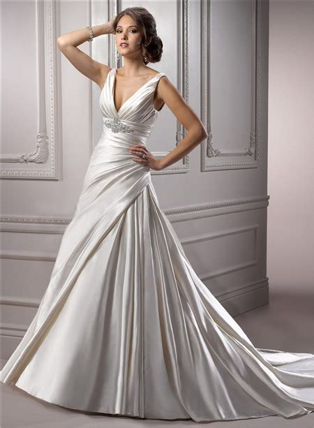 deep  neck corset  ivory satin ruched wedding