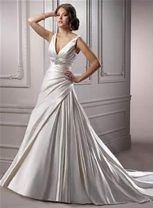 a line deep v neck corset back ivory satin ruched wedding With satin v neck wedding dress