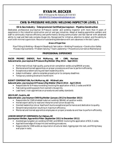 Welding Inspector Resume by Key Skills Communication Level 3 Writing An