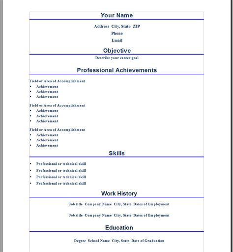 Free Microsoft Resume Templates 2012 by Microsoft Resume Templates 2012 54 Images Best Photos Of Basic Resume Template 2012 Simple