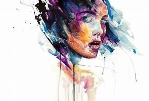 don't look back over shoulder portrait girl watercolor ...