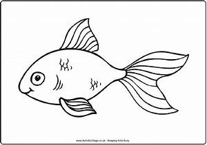 Goldfish Coloring Page Simple Outline Suitable For Younger