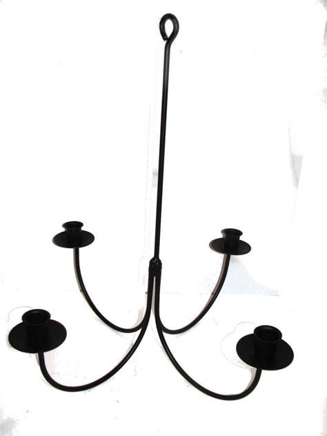 Wrought Iron Hanging Candle Chandelier by Black Wrought Iron 4 Arm Candle Chandelier Usa Amish Made