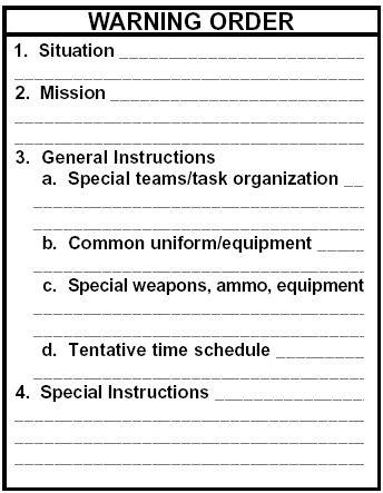 Plan  Warning Order (armystudyguidecom