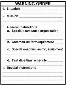 Plan warning order armystudyguidecom for Usmc warning order template