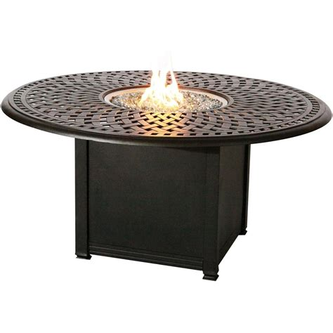 bar height patio table with fire pit signature 60 inch counter height propane fire pit bar