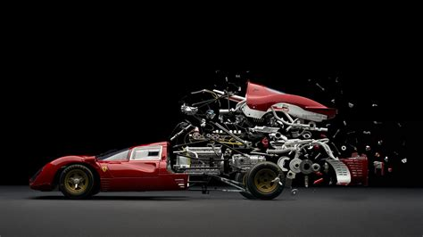 abstract car sports car parts mechanics exploded view diagram composite wallpaper