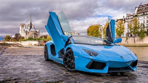 Car, Lamborghini Aventador, Blue Cars Wallpapers Hd
