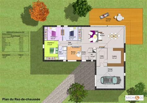 plan maison plain pied 3 chambres 1 bureau maison moderne plans maisons