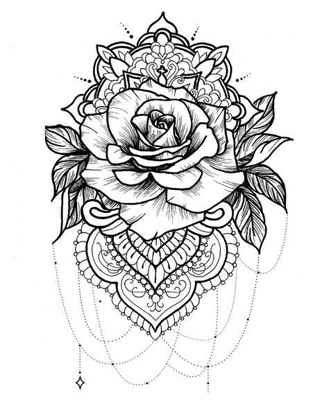 une jolie rose confondue avec  mandala  magnifique