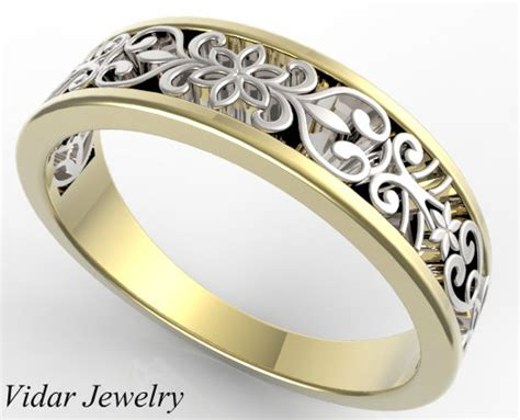 White And Yellow Gold Delicate Lace Wedding Band