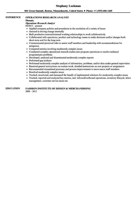 operations research analyst resume sle velvet