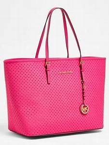 NWT Michael Kors Neon Pink Perforated NS Hamilton Leather