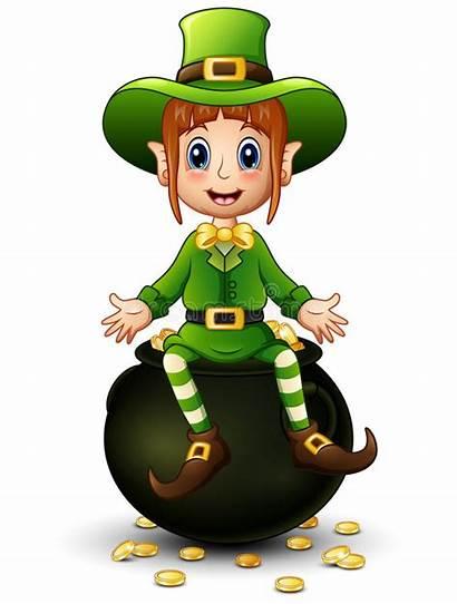 Leprechaun Gold Cartoon Pot Sitting Illustration Lucky