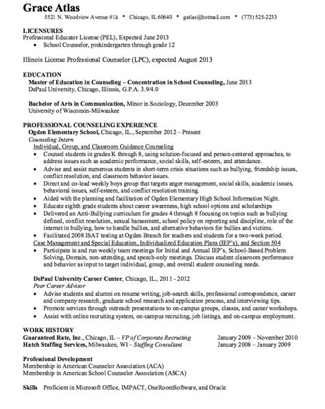 sample resume  counseling internship  resume examples