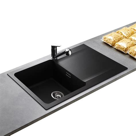 meuble evier cuisine évier résine noir franke 1 grand bac réversible