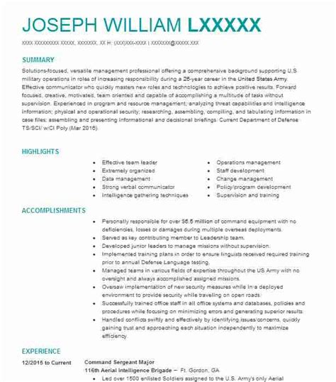 Army Sergeant Resume by City Carrier Assistant Resume Exle United States