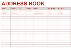 the word network phone number personal address book office templates