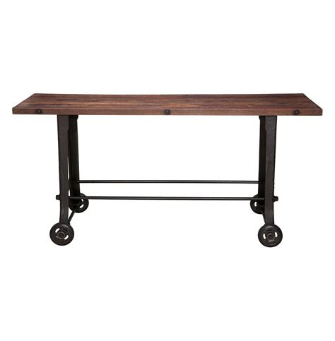 wood and iron bar industrial reclaimed wood cast iron console bar