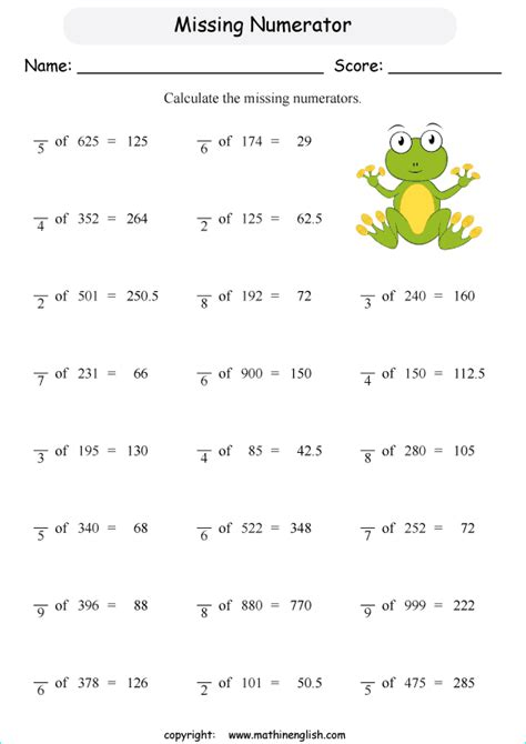 fraction math worksheet on sets fraction best free