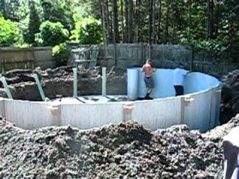 Deck Around Intex Pool by Above Ground Pool Sunk 2 1 2 Feet Day 2 Youtube