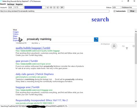 bing rewards bot authenticate manually identity buttons clear searches
