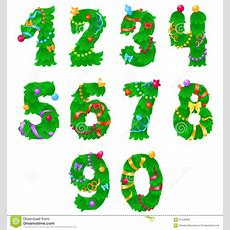 Numbers From One To Zero Like Christmas Tree With Ribbons And Garlands Stock Vector