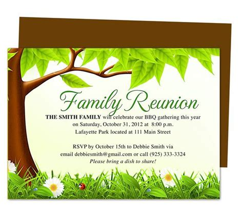 family tree reunion party invitations templates