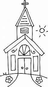 Coloring Church Catholic Popular sketch template