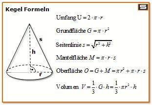 kegel formel volumen flaeche oberflaeche umfang mantel