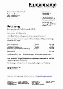 Rechnung Mit Mehrwertsteuer : kleinunternehmer rechnung rechnungsvorlagen f r ~ Themetempest.com Abrechnung
