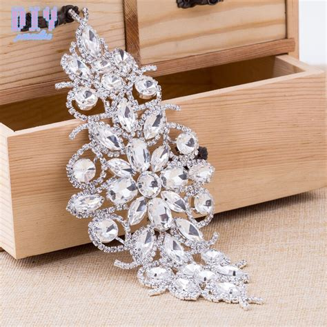 flower silver base crystal glass rhinestone applique diy bridal wedding dress belt sew strass