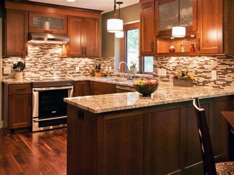 Brown Transitional Kitchen With Tile Backsplash