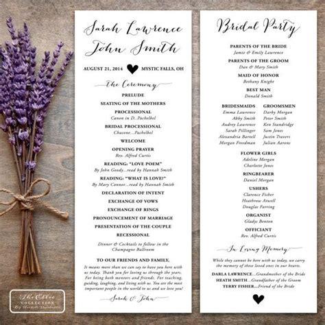 printable wedding program rustic the ellie collection tea length pdf order of service