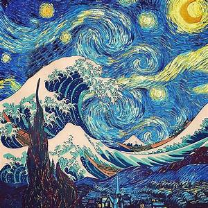 The Great Wave Off Kanagawa - The Starry Night Painting by