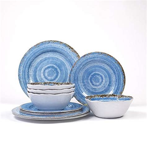 melamine dinnerware lightweight unbreakable rustic pattern service outdoor piece bpa indoor
